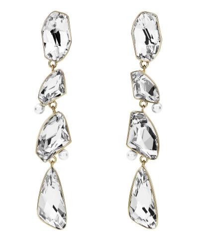 AS by Jason Wu Mosaic Long Drop Clip Earrings Clear Crystal